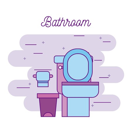 A bathroom toilet and paper trash can image vector illustration Çizim