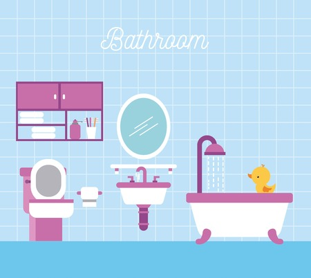 A bathroom bath shower toilet paper cabinet and duck vector illustration