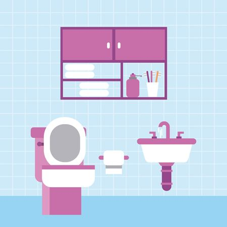 A bathroom toilet sink paper furniture cabinet and blue tile wall vector illustration Ilustrace