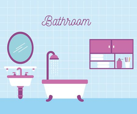 A bathroom bath shower sink and mirror cabinet vector illustration
