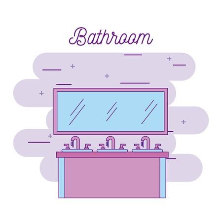 badkamer drie wastafel meubels en spiegel vector illustratie
