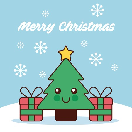 merry christmas tree pine and gifts snow vector illustration