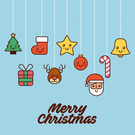 A merry christmas card greeting tree gift santa bell star hanging decoration vector illustration Illustration
