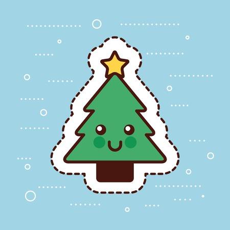 Christmas  tree pine star happy decoration cartoon vector illustration