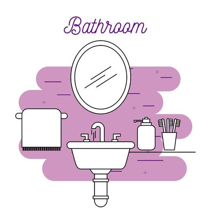 bathroom sink towel mirror soap and toothbrush vector illustration Ilustração