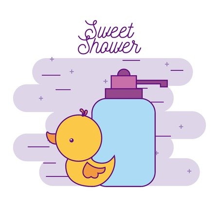 sweet shower rubber duck and bottle soap vector illustration