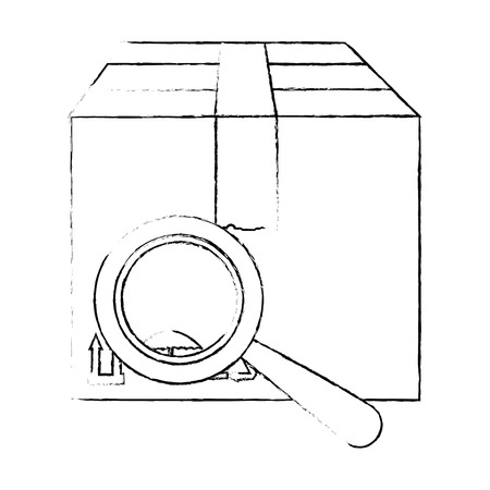 box carton with magnifying glass vector illustration design