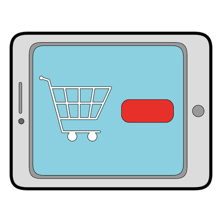 device: tablet device with ecommerce app vector illustration design