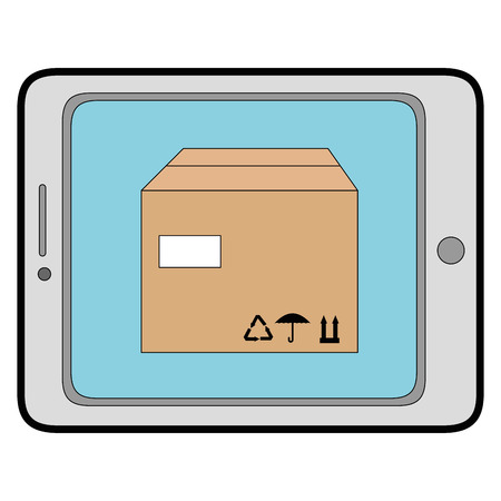 tablet device with delivery app vector illustration design