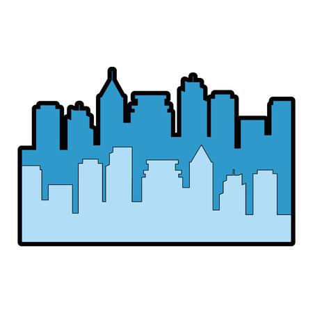 Edifici urbani silhouette icona illustrazione vettoriale illustrazione Archivio Fotografico - 87473534