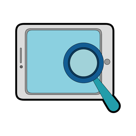 device: tablet device with magnifying glass vector illustration design