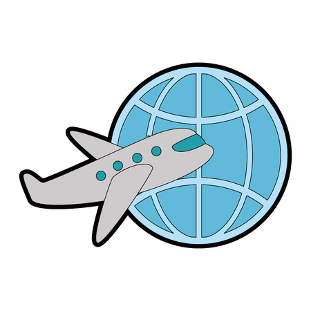 planet sphere with airplane vector illustration design Illustration