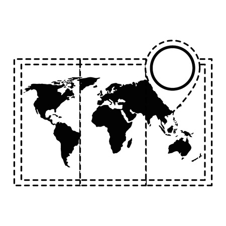 world map paper icon vector illustration design