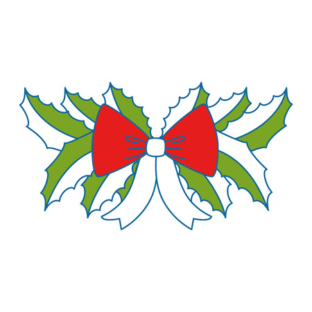 leafs with bow christmas decoration icon vector illustration design Illustration