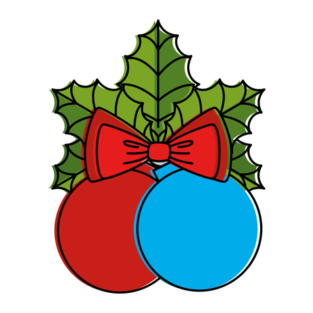 merry christmas balls with bow decorative vector illustration design