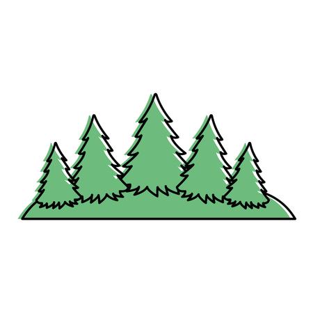 Pine forest scene silhouette vector illustration design