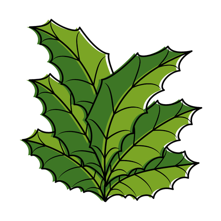leafs christmas decoration icon vector illustration design
