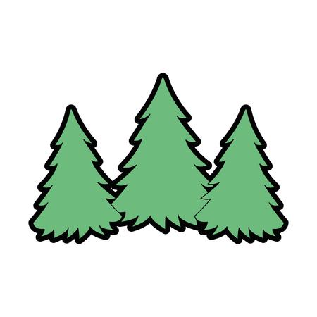 Ontwerp van de het silhouet vectorillustratie van de pijnboom het bosscène