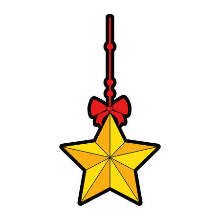 decorative star with bow hanging vector illustration design