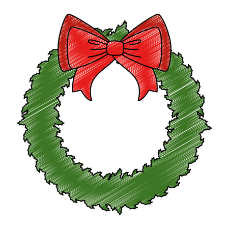 merry christmas wreath crown with bow vector illustration design