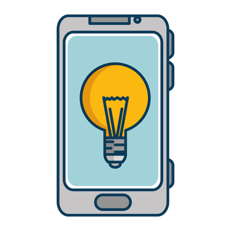 cellphone icon: smartphone device with bulb vector illustration design