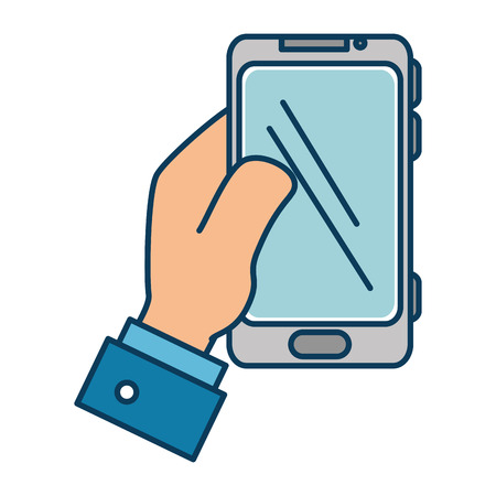 cellphone icon: hand user with smartphone isolated icon vector illustration design Illustration