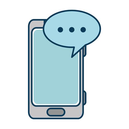 cellphone icon: smartphone device with speech bubble vector illustration design Illustration