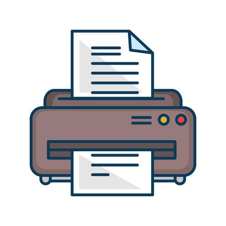 프린터 기계 격리 아이콘 벡터 일러스트 디자인 일러스트