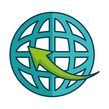 Sfera del pianeta con la freccia intorno al disegno dell'illustrazione di vettore Archivio Fotografico - 87537963