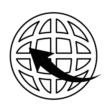 ベクトル イラスト デザインの周りの矢印を持つ惑星球