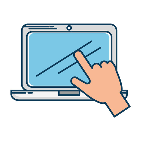 laptop screen: laptop computer with hand user touching vector illustration design