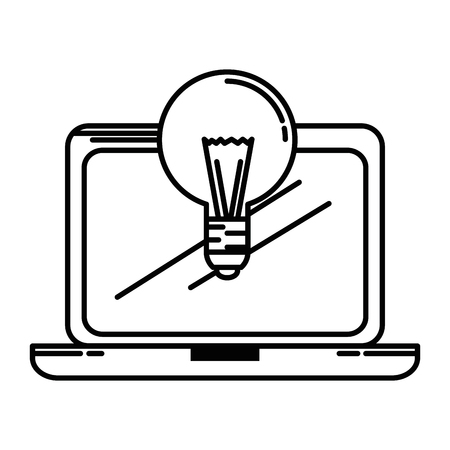 laptop screen: laptop computer with bulb vector illustration design