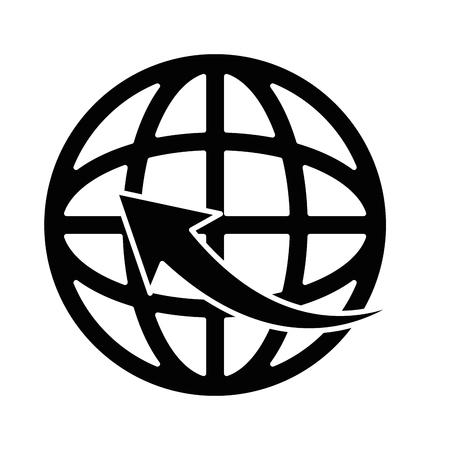 planet sphere with arrow around vector illustration design