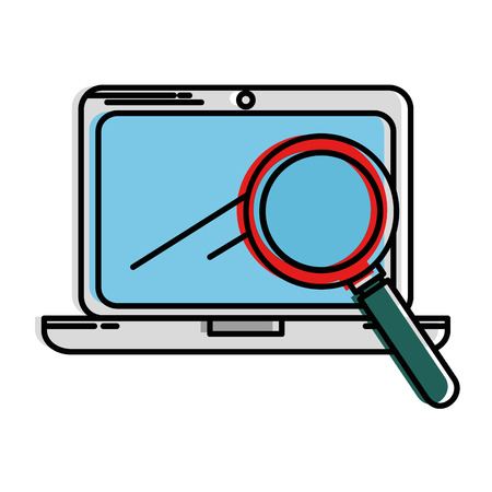 laptop screen: laptop computer with magnifying glass vector illustration design