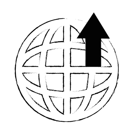 planet sphere with arrow up vector illustration design