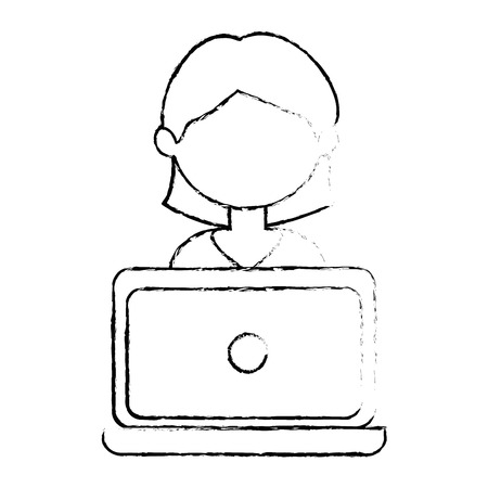 laptop screen: woman using laptop computer vector illustration design