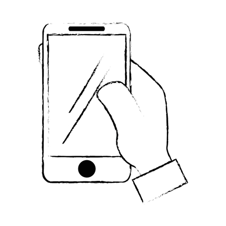 smartphone icon: hand user with smartphone isolated icon vector illustration design Illustration