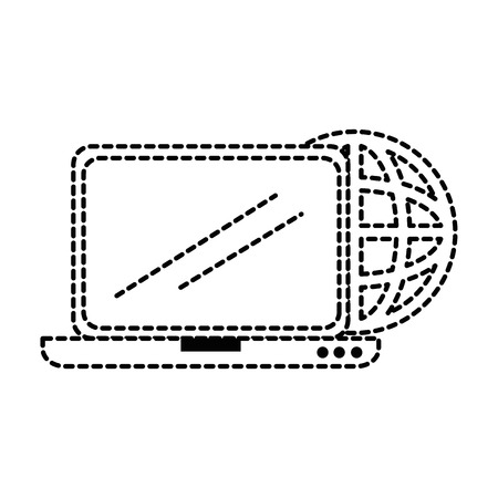 laptop screen: laptop computer with planet vector illustration design