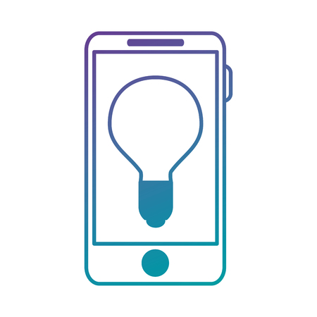 smartphone icon: smartphone device with bulb vector illustration design