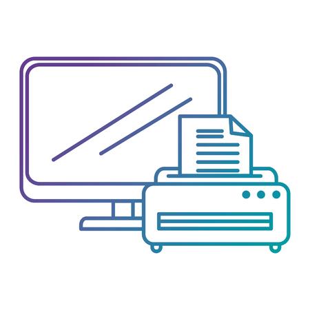 laptop screen: laptop computer with printer vector illustration design