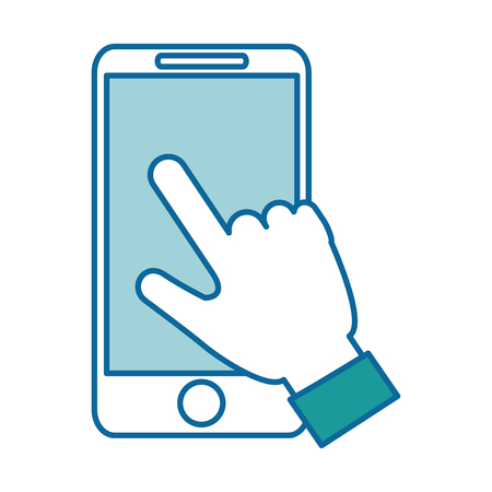smartphone icon: hand user with smartphone isolated icon vector illustration design Stock Photo