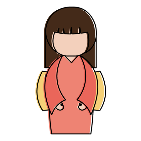 little japanese doll   character vector illustration design