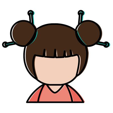 little japanese doll character vector illustration design Stock Vector - 87669315