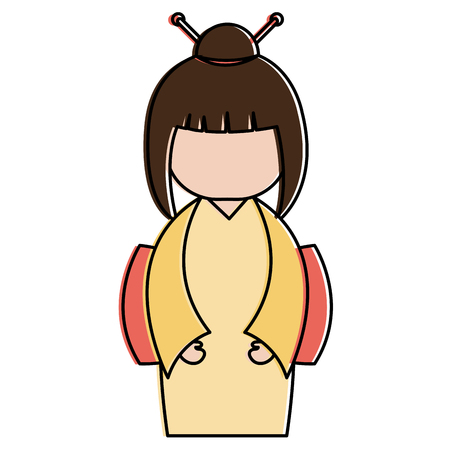 matryoshka: little japanese doll character vector illustration design Illustration