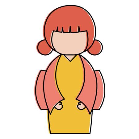 little japanese doll character vector illustration design Stock Vector - 87669001