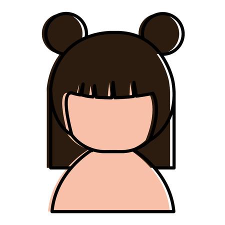 Weinig Japans vector de illustratieontwerp van het poppen shirtless karakter Stockfoto - 87668616