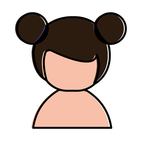 little japanese doll shirtless character vector illustration design