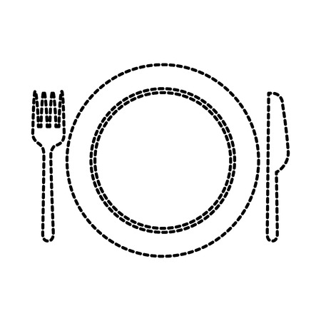 kitchen plate fork and knife domestic restaurant vector illustration