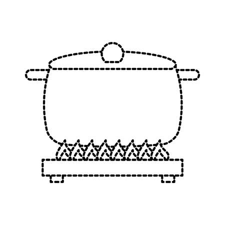 スープ パン キャップ上ストーブ料理のアイコン ベクトル図を燃焼