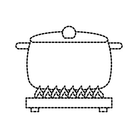 벡터 일러스트 레이 션 요리 아이콘을 레코딩 스토브 위에 수프 팬 모자